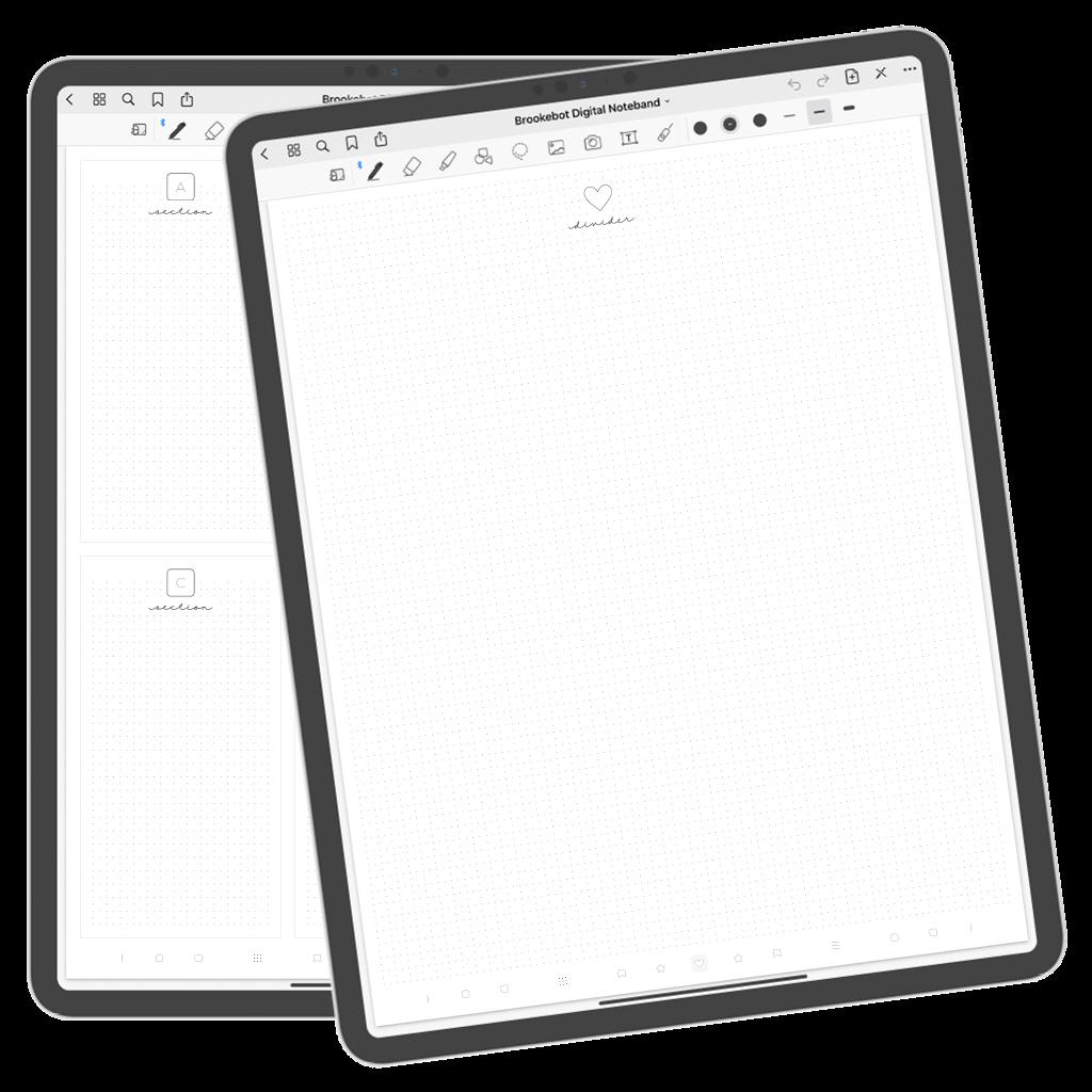 Brookebot Digital Notebook Bookmark Divider Page
