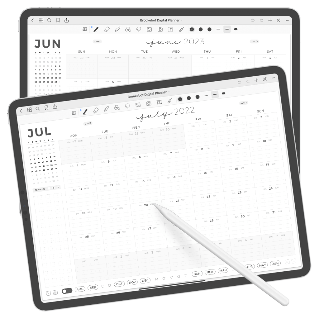 Digital Planner July June Month Calendar 01