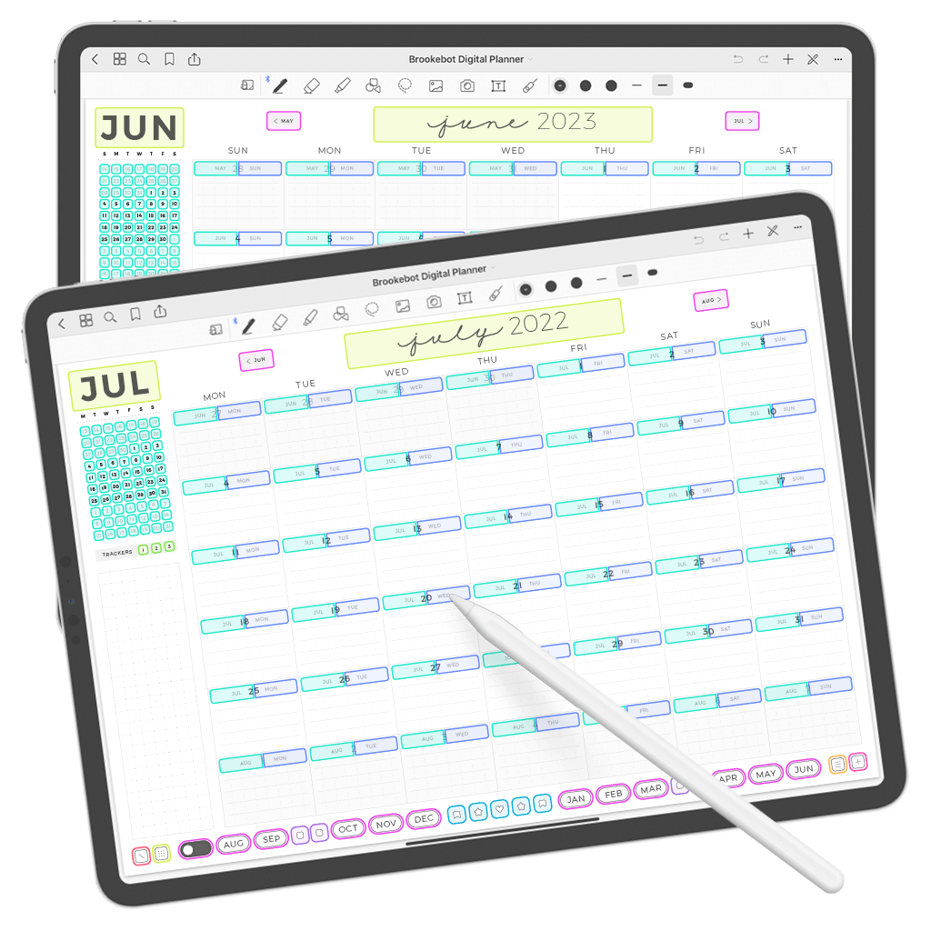 Digital Planner July June Month Calendar Links Weekly Daily