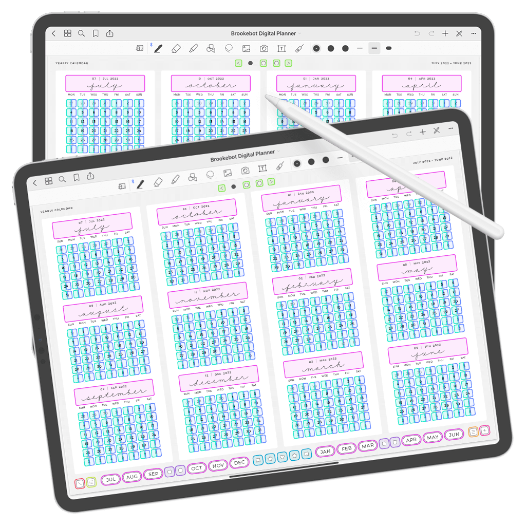 Digital Planner July June Yearly Links Weekly Daily