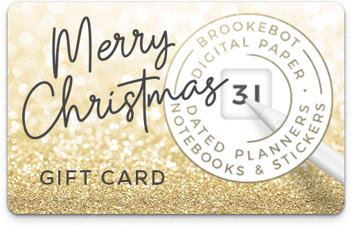 Brookebot Digital Gift Card Merry Christmas Gold Glitter