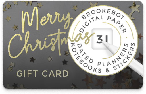 Brookebot Digital Gift Card Merry Christmas Metallic Stars